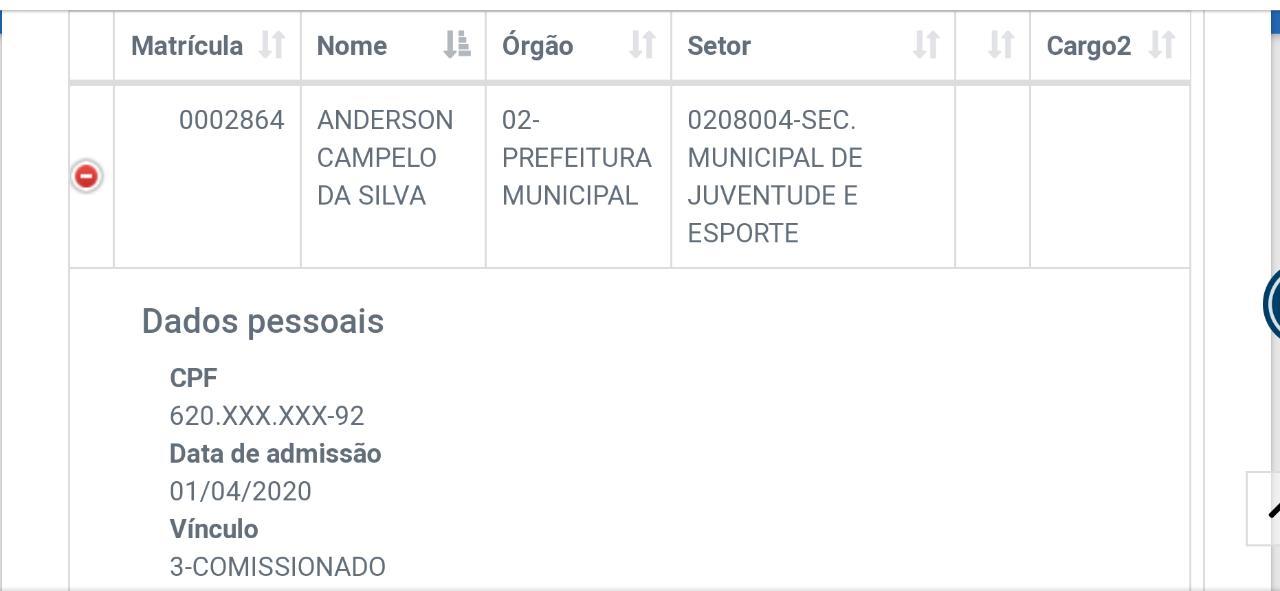 Mostrar a data de entrada de Anderson na prefeitura de Peritoró-MA