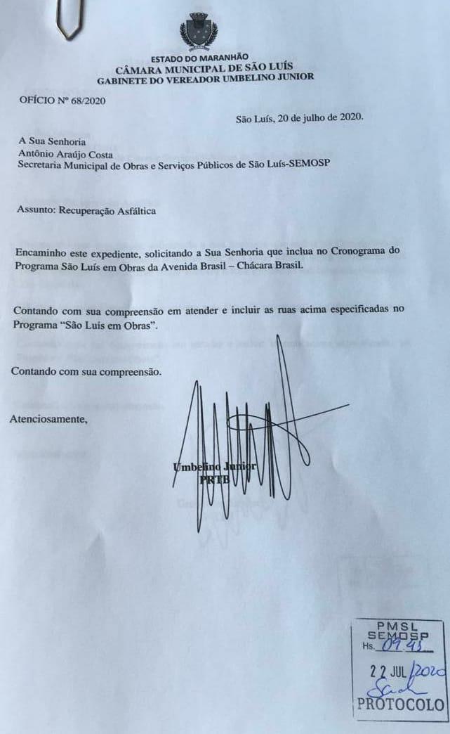 Chácara Brasil recebe asfalto após solicitação de Umbelino Junior