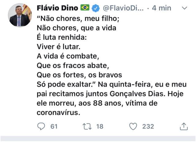 FLÁVIO DINO ANUNCIA A MORTE DO PAI NAS REDES SOCIAIS