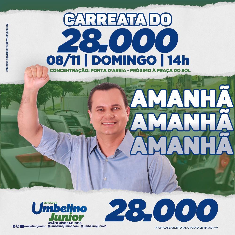 Umbelino Junior (PRTB), realizará, na tarde deste domingo (8), uma grande carreata nas principais avenidas da capital maranhense.