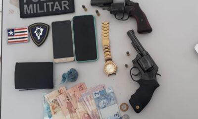 Na tarde desta quarta-feira, 2 de junho, o 24° batalhão da Polícia Militar do Maranhão, prendeu dois homens por tráfico de drogas e porte ilegal de arma de fogo.